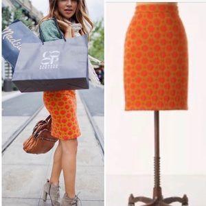 NWT ANTHROPOLOGIE MOD Orange/Gold Skirt Mini 8